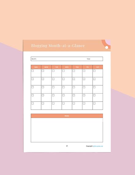 sample blog Planner Sample