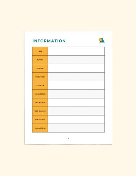 PreSchool Lesson Planner Example