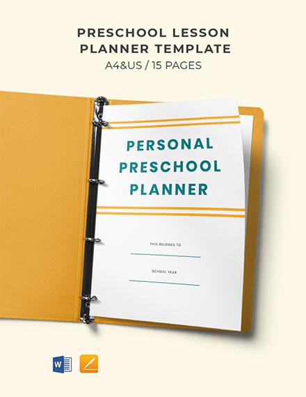 Preschool Lesson Planner Template