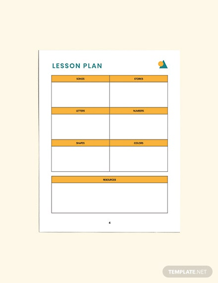 Printable PreSchool Lesson Planner