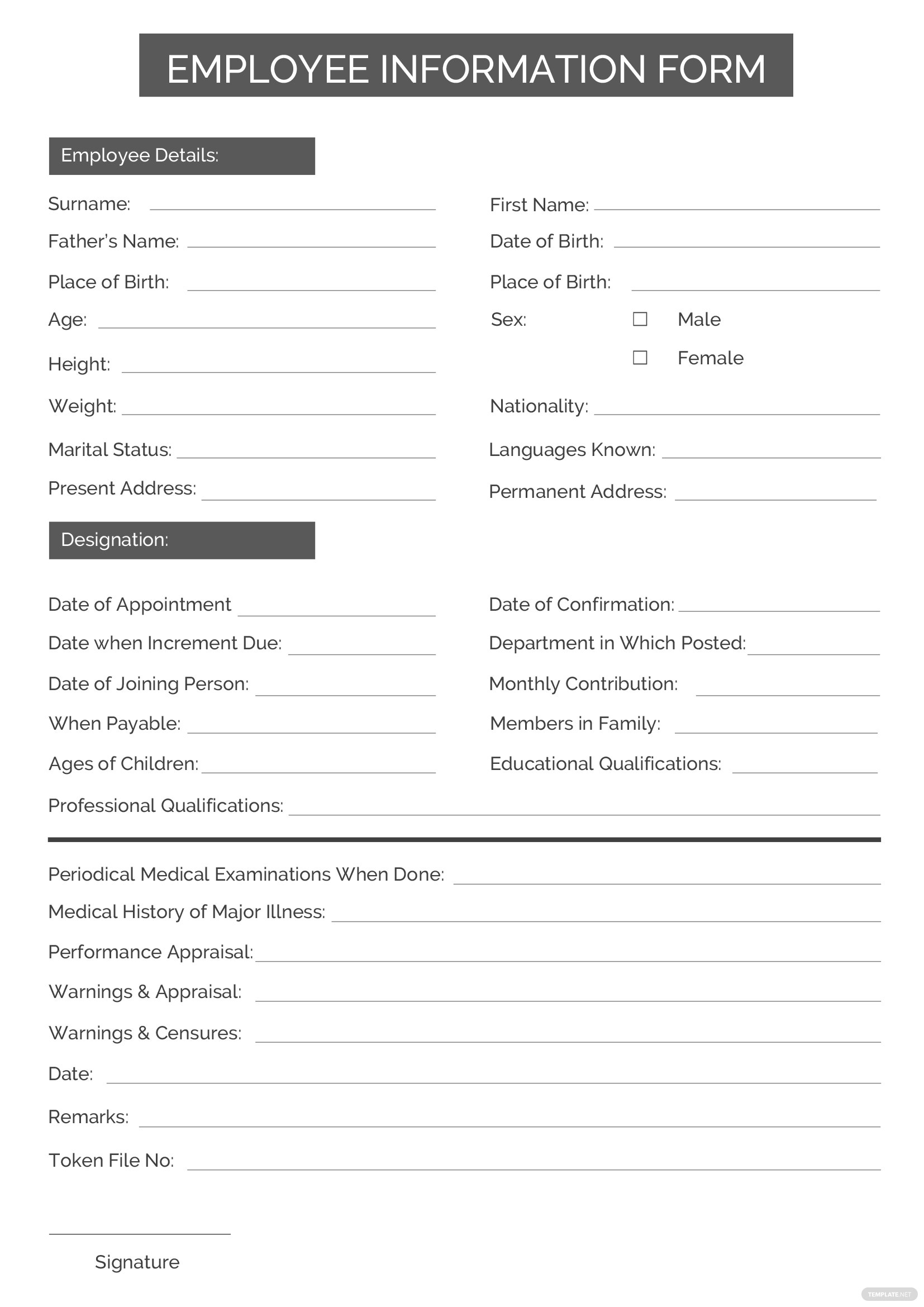 employee information form template in microsoft word