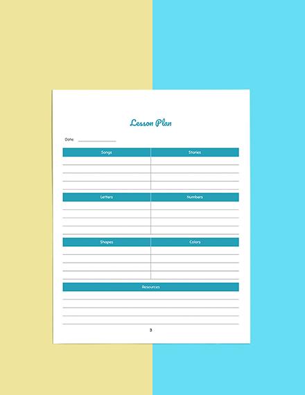 Personal PreSchool Planner Template Download