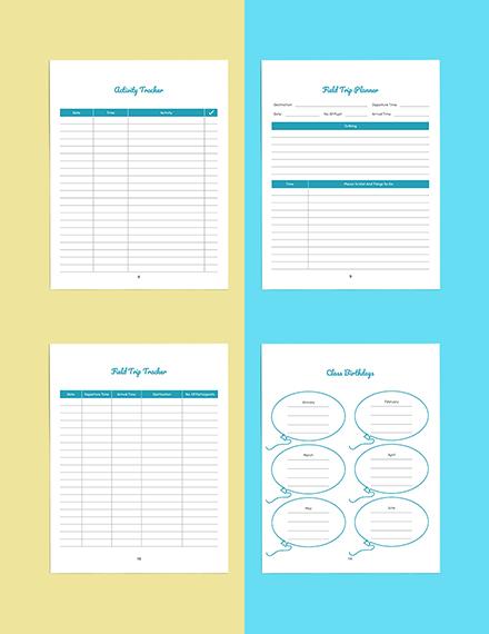 Personal PreSchool Planner Template Editable