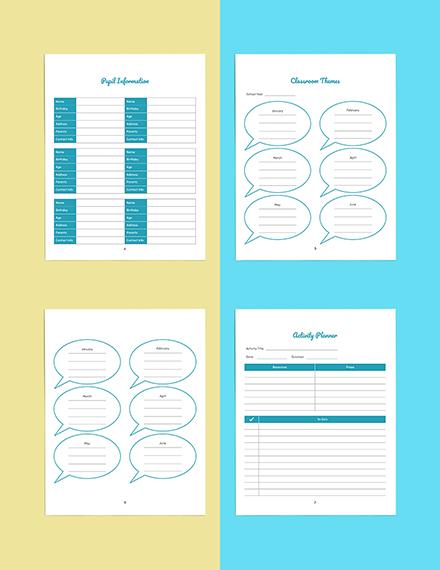 Personal PreSchool Planner Template Example