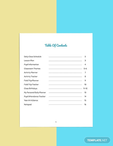 Personal PreSchool Planner Template Format