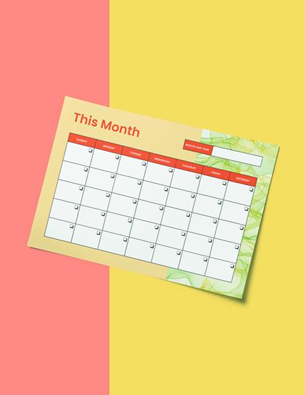 Monthly Desk Planner Template Download