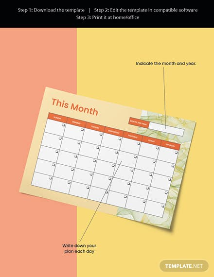 Monthly Desk Planner Template Editable