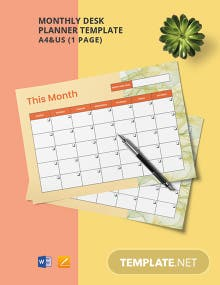 Monthly Desk Planner Template