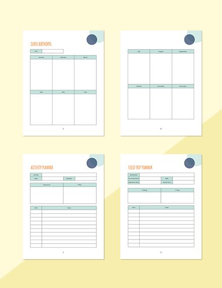 Monthly PreSchool Planner Printable Class Birthdays