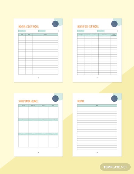 Monthly PreSchool Planner Sample Notepad