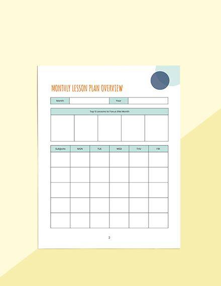 Monthly PreSchool Planner Sample