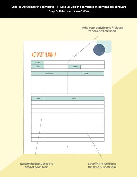 Monthly PreSchool Planner Schedule Activity