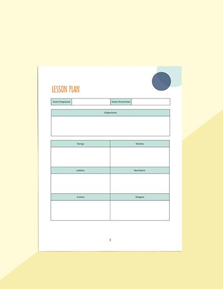 Monthly PreSchool Planner Schedule