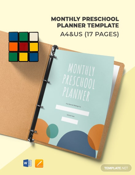 Monthly Preschool Planner Template