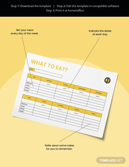 Food Desk Planner Template Editable