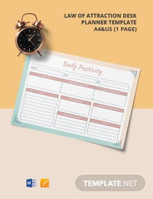 Law of Attraction Desk Planner Template