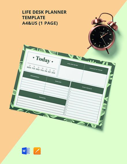 Life Desk Planner Template