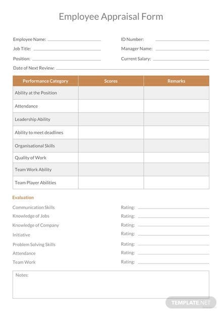 Employee Appraisal Form Template