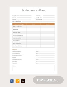 Free Employee Appraisal Form Template