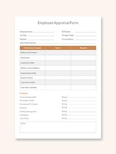 Employee Appraisal Form Template