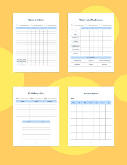 Weekly PreSchool Planner Template Download