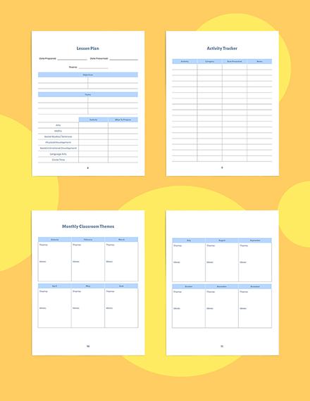 Weekly PreSchool Planner Template Example