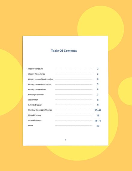 Weekly PreSchool Planner Template Format