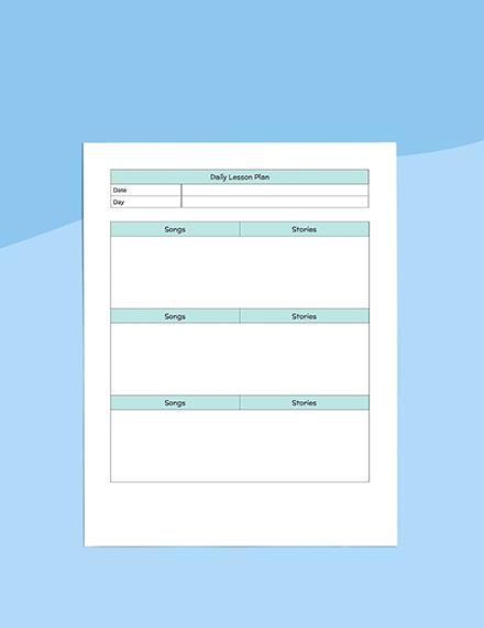 Daily PreSchool Planner Printable