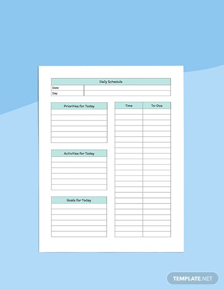 Daily PreSchool Planner Sample