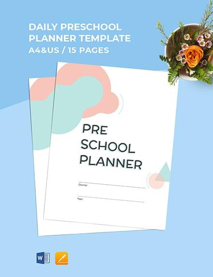 Daily Preschool Planner Template