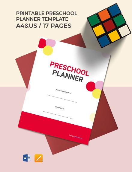 Free Printable Preschool Planner Template