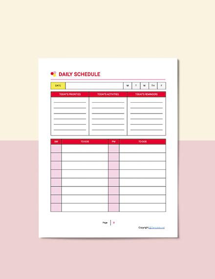 Sample Printable Preschool Planner