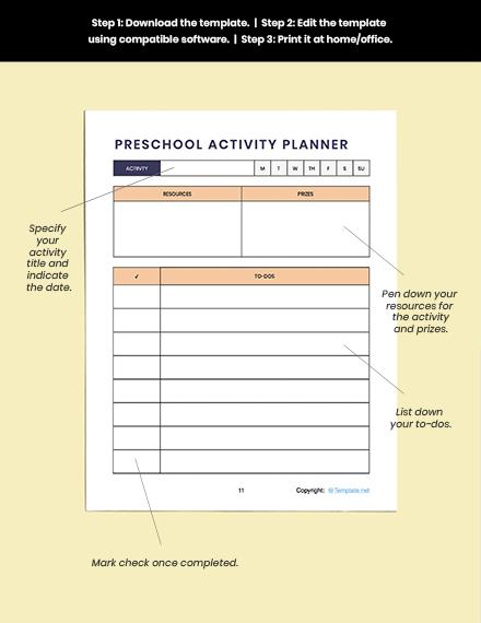 Download Simple Preschool Planner