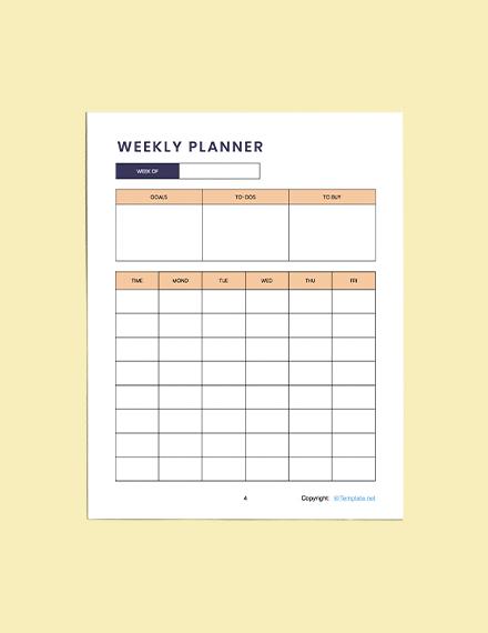 Printable Simple Preschool Planner