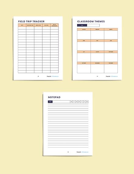 Simple Preschool Planner Sample