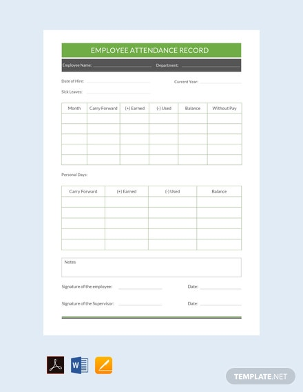 free employee attendance record template download 239 sheets in