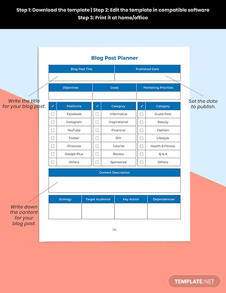 Blog Marketing Planner Printable
