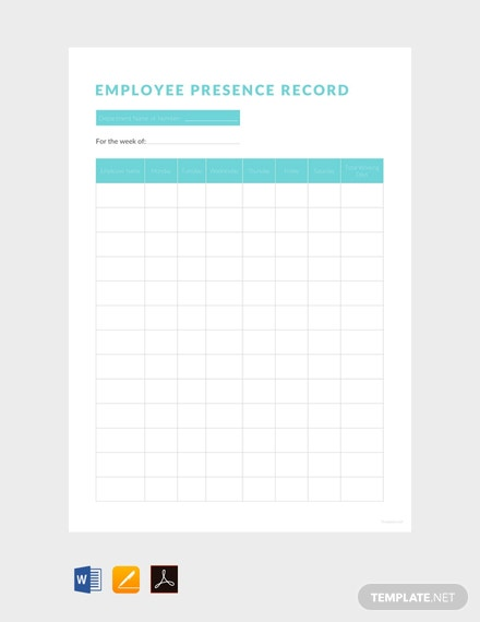 Free-Employee-Presence-Record-Template