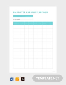 Free Employee Presence Record Template