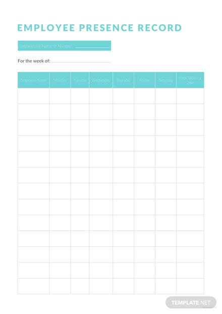Employee Presence Record Template
