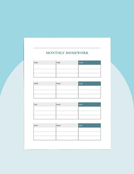 Monthly homework Planner Format