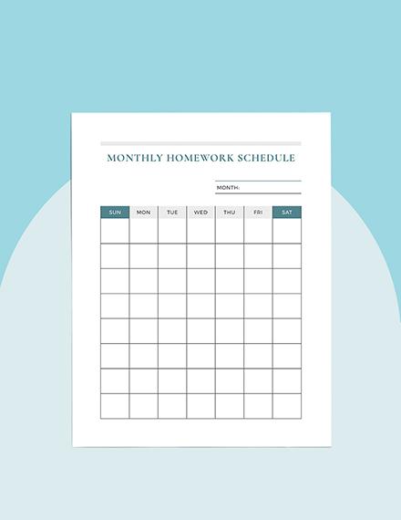 Monthly homework Planner Template