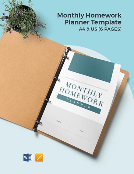 Monthly homework Planner