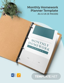 Monthly Homework Planner Template