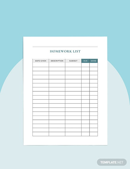 Sample Monthly homework Planner