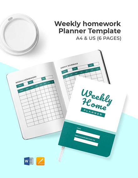 Weekly Homework Planner Template