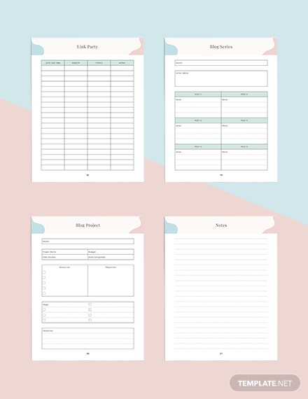 Monthly blog Planner Printable