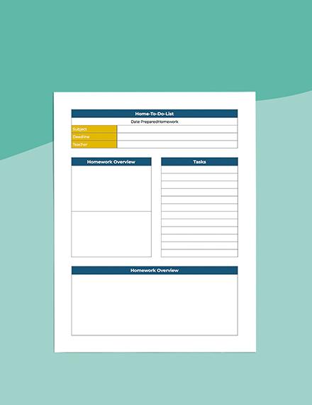 middle School homework Planner Editable