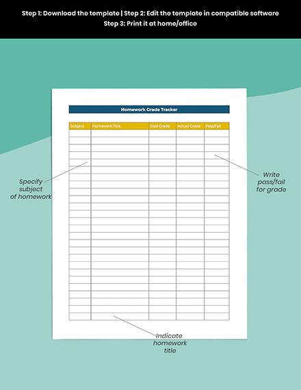 middle School homework Planner Format
