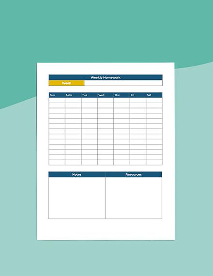 middle School homework Planner sample